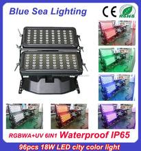 High power DMX 96pcs 18w rgbwauv 6 in 1 IP65 led city color light