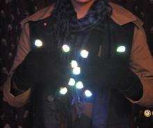 LED black ,white gloves,mix color light