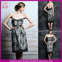 sd1836 joelho de comprimento em preto e branco sexy de altura mãe da noiva vestidos de renda