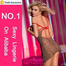 wholesale women's plus size leopard mesh babydoll hook sexy underwear sex doll for men with lace up in front