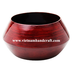 Top quality environmentally friendly hand crafted spun bamboo fruit baskets in red & black