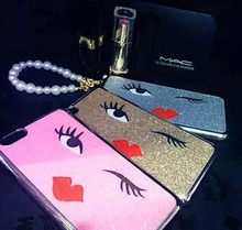 Stylish sexy eyes lips bling back cover for iphone6, for fashion case cover i phone6