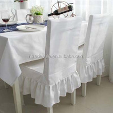 new style white lycra wedding/dining /restaurant/banquet spandex elastic skirt ruffled chair covers and polyester table cloth