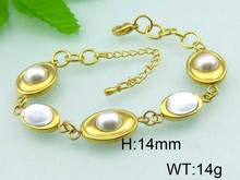 Striking bracelet 18K gold plated shell pearl fitness bracelet