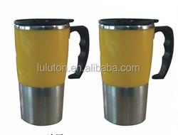 16oz stainless steel insulated travel mug,bpa free double wall thermal camping mug,480ml steel thermal travel mug with handle