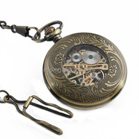 WP085 Skeleton Jewel Mechanical Pocket Watch Chain Online payment ready!