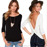 Fashion 2015 Long Sleeve Punk T Shirt Women Clothing Sexy Backless High Street Casual Blusas White Black Tops