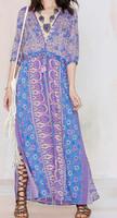 Beautiful Multi Color Chiffon Blossom Deep V Neck Maxi Boho Women Dress Long Ladies Vestido 2015 Trend