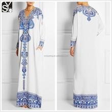 2015 Deep V neck pretty embroidered dubai kaftan rayon maxi dress SYA15176