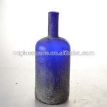 country style crude hand made blue color glass vase
