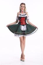 Oktoberfest beer maid costume girl waitress green skirt outfit S-2XL