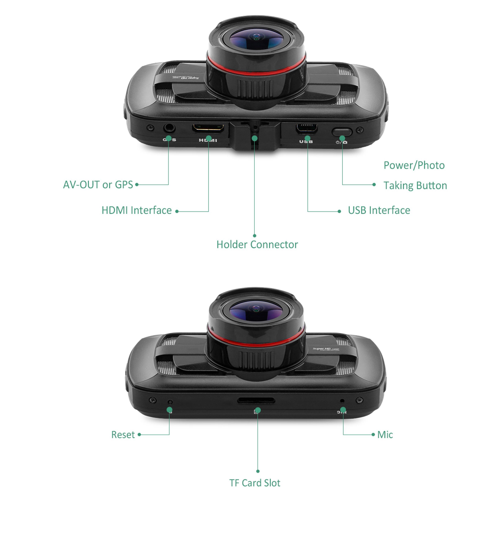 Meilleur Qualité 170 Degrés Grand Angle Vue Ultra HD 1440 P Super Nuit Vision HDR Ambarella A12 Chipest Caméra