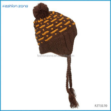 Jacqyuard elastic knitted beanie cat ears with custom label