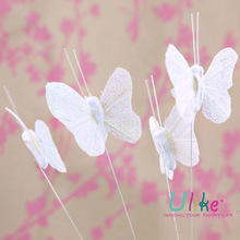 white glitter artificial butterflies pearl and diamonds party decorations