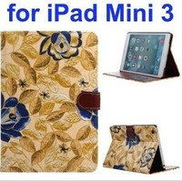 Classical Flower Pattern PU Leather Flip Cover Case for iPad Mini 3