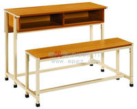 Modern Popular Steel Frame Attached School Desk And Bench With Wooden Top and Drawers For 2 Students