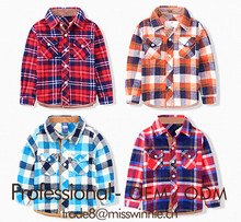 Customize & bespoke summer unisex children stylish cotton plaid blouse shirt