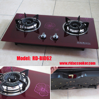 Red Design 2 burners built in gas stove (RD-BI062) 730X410MM tempered glass