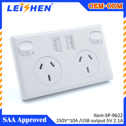 Australia saa 2-Outlet Wall Mount Surge Protector with 2 USB ports (2.1Amp output) for charging iPhone, iPad, Samsung...