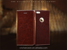 Luxury genuine leather phone case cover with card slot wallet and stand holder for iphone 6 6plus