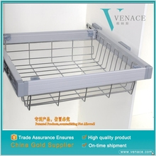 Wholesale closet Chrome Plated metal wire hanging storage baskets