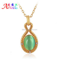 Have spot wholesale hot Noble styles contracted design blue orange green lucky opal 18 k gold jewelry cute long pendant necklace