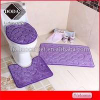 Novelty 3D pebble design new product home textile 3 pc toilet mat set