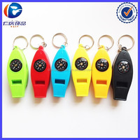 Hot Sale 4IN1 Compass Thermometer Whistle Magnifier Versatile with Keychain Travel