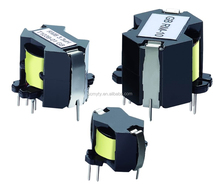 RM8 transformer with optimized magnetic shield for low interference