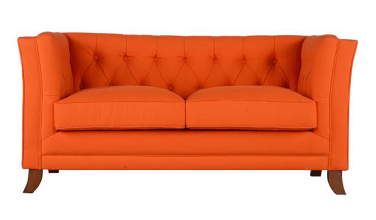 Orange Chesterfield Modern Leather Wooden Sofa With Simple Design Cushion Buy Orange Leather