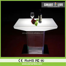 Inside golden carving pattern design solid surface/man-made stone led bar table