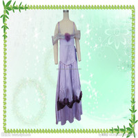 Hot selling fashion halloween party costumes purple rose princess dress for woman