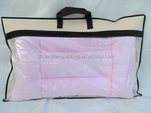 Custom plastic and nonwoven material soft pillow packing bag non-woven and pvc pillow bag