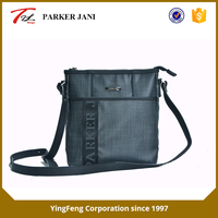 Gray non-shiny cationic farbic single shoulder messenger bag for men