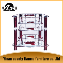 typical modern tempered glass TV stand base with rotation bracket