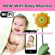 Sunflower wifi bayby monitor with ISO/Android system, 16GB TF card, Night vision, 30m long range, built in mircophone