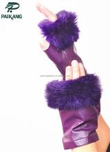 Ladies fashion dress purple leather fingerless gloves