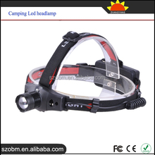 Lithium Ion Rechargeable Battery Convex Glass Lens 200 Lumens XPE 1 LED Camping Headlamp Flashlight