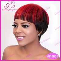 Free Shipping Factory Wholesale Prices Short Hair Wigs Red Highlight Indianl Human Wigs For Sale