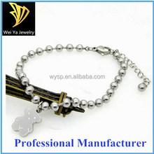 Fashion lovely bear stainless steel beaded silver bracelet