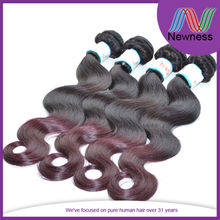 Hot selling double wefted no shedding two tone colored burgundy remy hair weaving 99j