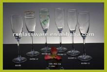 new products 2015 innovative product embossed Champagne glass with fancy appearance and cheap price