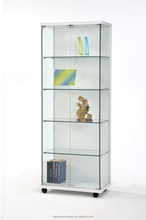 White wood and 4 Floor glass display cabinet