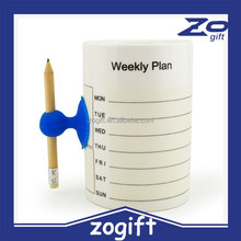 ZOGIFT factory price Personalized mug writing weeky plan or leaving massage ceramic coffee mug/ coffee tea cup for men with pen