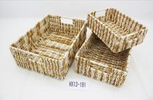 Rectangulaire polyvalent naturel mer herbe tissé panier coffres ensemble de 3 avec poignées