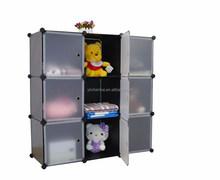 PP material 9 Cubes DIY cheap closet storage with doors (YK-1017)