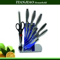 Kitchen knives set 5pcs knives+scissors+sharpener with acrylic holder set pro manufacturer of kitchen knife kitchen tools knive