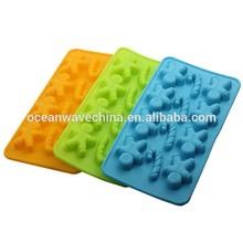 Navidad 3d del molde de silicona para el caramelo moldes de pan de jengibre y palo en forma de
