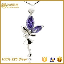 Angel wing 925 sterling silver fashionable jewelry fashion necklace wholesale gold plated costume statement jewellery pendant