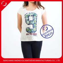 China supplier women t shirt with bead